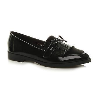 Ajvani mulheres planas salto baixo inteligente deslizamento casual em mocassins franja sapatos de trabalho