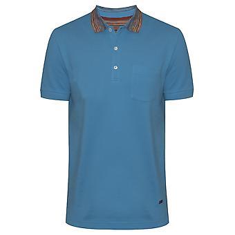 MISSONI Aqua Blue Contrast Collar Polo Shirt