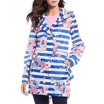 Joules Golightly chaqueta impermeable impermeable para mujer - Blue Stripe Floral
