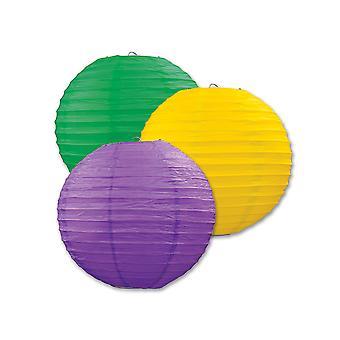 Papier Laternen (Pack von 3) - lila, gelb & grün