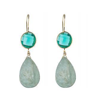 Gemshine örhängen grön turmins blå akvamarin droppar 925 silverpläterad
