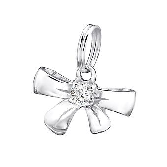 Bow - 925 Sterling Silver Charms with Split ring - W29179X