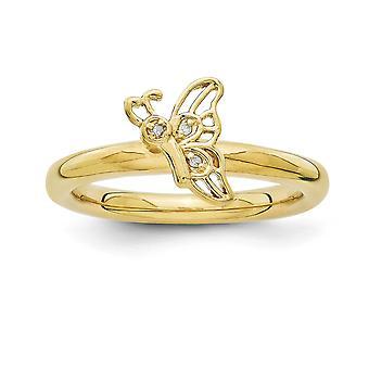 """2.5 מ""""מ 925 מכסף סטרלינג ביטויים מצופים כנפיים מצופה זהב 14k כנפי המלאך של פרפר עם דיה. טבעת תכשיטים מתנות W"""