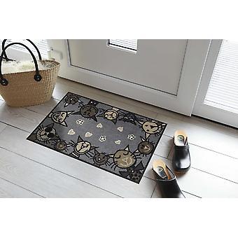 Salonloewe dörrmatta Circle Cat City chic 50 x 75 cm tvättbar smuts matta