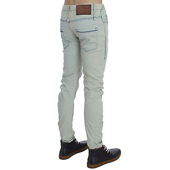 Acht Light Blue Wash Denim Cotton Stretch Slim Fit Jeans With Contrast Stitching