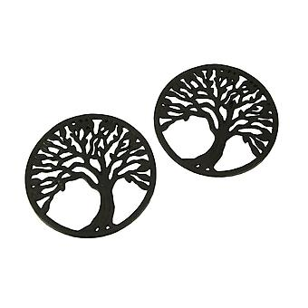 Brown Cast Iron Tree Trivets or Wall Hangings Set of 2