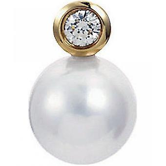 Yana Nesper Bead Pendant Akoya Pearl, 750 Yellow Gold, Diamond 0.10ct. AP6-7