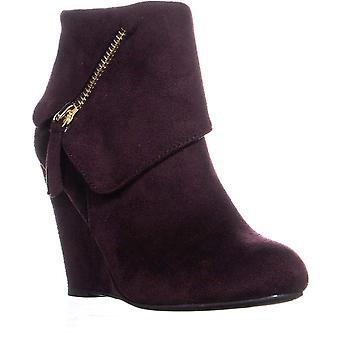 Rebel Senia Zip Up Wedge Ankle Boots, Wine, 6.5 US