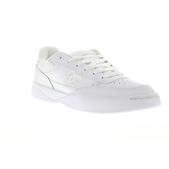 DC Penza  Mens White Leather Lace Up Athletic Skate Shoes