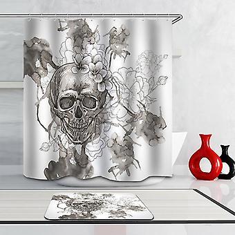 Rideau noir et blanc de douche de crâne de dessin