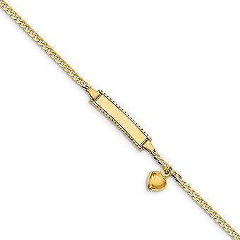 14 k Gelbgold Baby ID Bordstein mit Liebe Herz baumeln Armband 6 Zoll