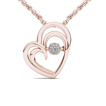 IGI Certified Solid 10k Rose Gold 0.04 Ct Diamond Heart Beat Pendant Necklace