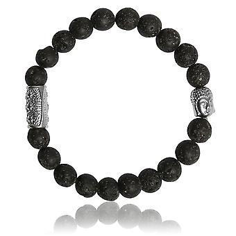 Lauren Steven Design ML032 Bracelet - Natural Stone Men's Lava Stone Bracelet