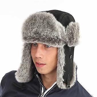 Mens dames Unisex bont trim PU lederen Trapper warme winter thermische hoed