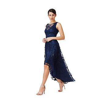 Goddiva Floral Lace Asymmetric Dress