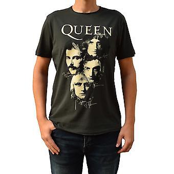 Zosilnené kráľovná autogramy drevené uhlie posádky krku T-shirt