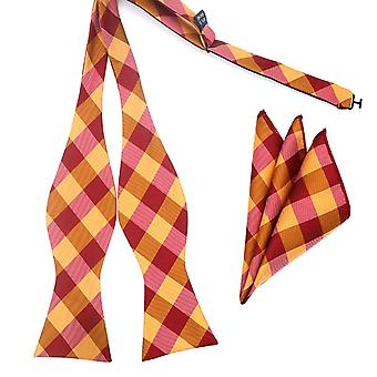 Orange & red check pattern bow tie & pocket square hanky