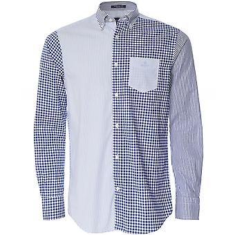 Camisa de pano mista do painel misto de ajuste regular GANT