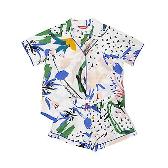 Minijammies 5554 Girl's Alicia White Abstract Print Cotton Pyjama Short Set
