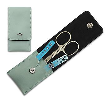 Luxury Solingen 3-Piece Manicure Set for Women with Swarovski crystals in Mint Green Leather Case