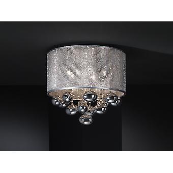 Schuller Andreda - Lampe de plafond en acier poli, finition chromée. Ombre de vinyle avec maille de poinçon chromée. A l'intérieur avec des chaînes de cristal et des bulles de cristal chromé. - 174213
