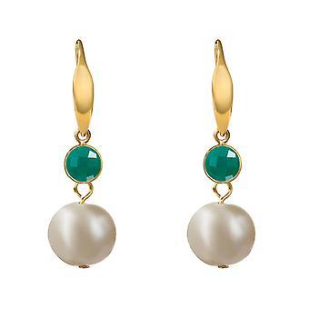 Boucles d'oreilles GEMSHINE perles et émeraudes en argent, or plaqué ou rose