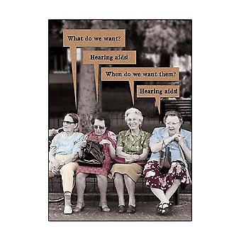 Pigment What Do We Want? Hearing Aids - General Greetings Card
