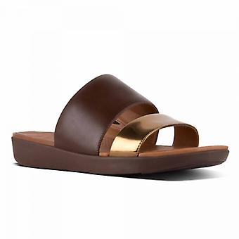 FitFlop Delta™ Ladies Leather Slide Sandals Espresso/bronze