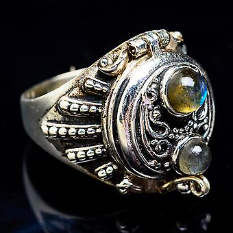 Large Poison Labradorite Ring Size 8.5 (925 Sterling Silver)  - Handmade Boho Vintage Jewelry RING3481
