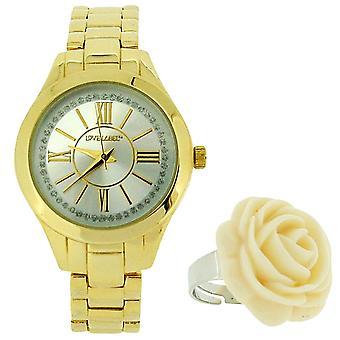 Love Label Ladies Gold Tone Metal Bracelet Strap Watch With Rose Ring BX83.10LL