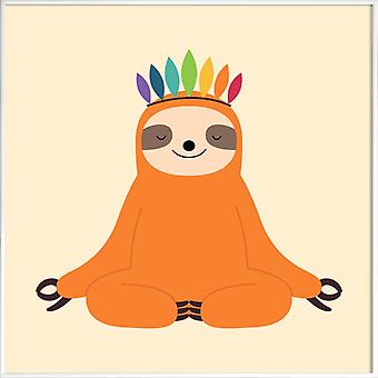 JUNIQE Print - Master of Calm - Sloths Poster in Orange