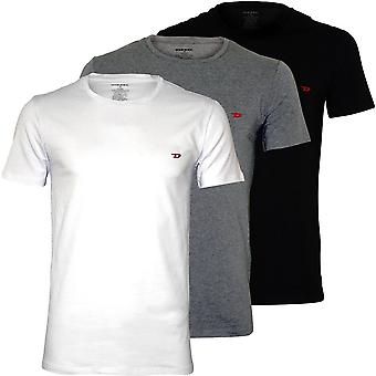 Diesel 3-Pack Embroidered D Logo Crew-Neck T-Shirts, Black/Grey/White