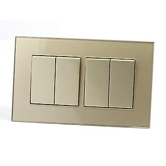 I LumoS AS Luxury Gold Crystal Glass Double Frame 4 Gang 1 Way Rocker Light Switches