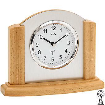AMS 5123/18 Pöytäkello radiopöytä kello analoginen moderni puu pyökki alumiinilla