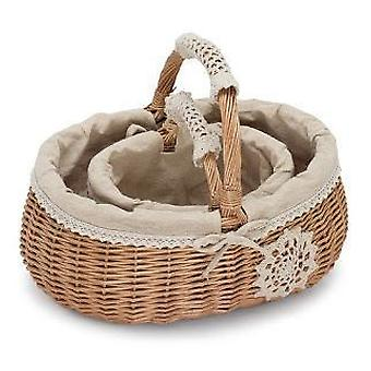 Set of 2 Shopping Baskets with a Decorative Handle