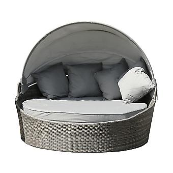 Charles Bentley Large Rattan Day Bed With Sun Canopy 180cm Diameter - Grey Polyethylene synthetic H85-155 x Dia. 180cm 31kg