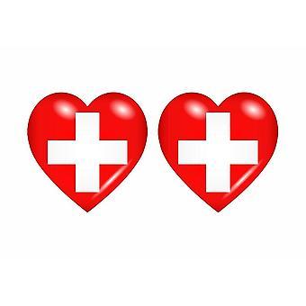 2x عصا ملصقا العلم القلب Ch السويسرية