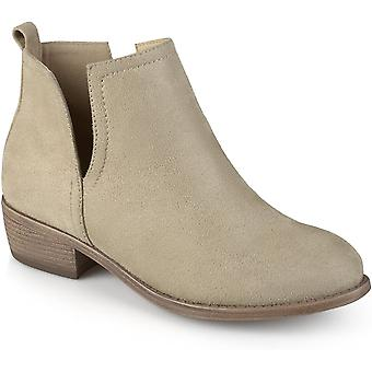 Journee Collection Womens Round Toe Faux Suede Boots Stone, 9 Regular US
