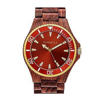 Reloj de pulsera de centurión de madera de la tierra - rojo