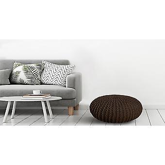 Ciemnobrązowy brąz Deding Ottoman w tkaninie 45x45x30 cm