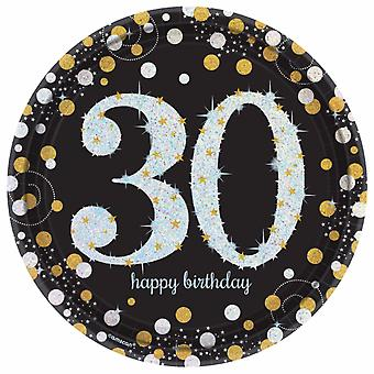 Amscan Sparkling Gold Celebration 30th Birthday Party Plates (Pack of 8)