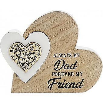 Sentiments Double Heart Dad Horizontal Plaque