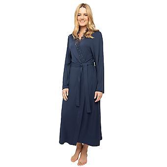 Cyberjammies Nora Rose Scarlett 1440 Women's Navy Blue Lace Trim Robe