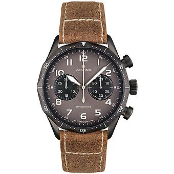 Junghans Meister Pilot Automatic 027/3794.00 Grey Dial Brown Leather Strap Men's Watch