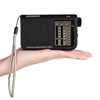 Retekess v-117 fm am sw 3 band radio battery powered operated by 2 aa battery transistor radio jack emergency radio receiver portable radio station