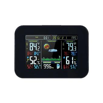 Wireless Color Screen Thermometer and Hygrometer Clock Black