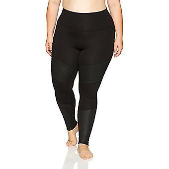 Marca - Core 10 Women's Icon Series - The Dare Devil Plus Size Legging, Black/Black Shine, 3X