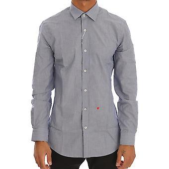 Moschino Blue Striped Cotton Slim Fit Dress Shirt TSH1500-2
