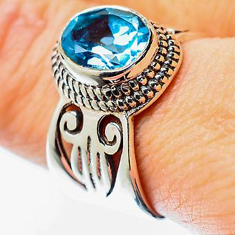 Blue Topaz Ring Size 9 (925 Sterling Silver)  - Handmade Boho Vintage Jewelry RING25693