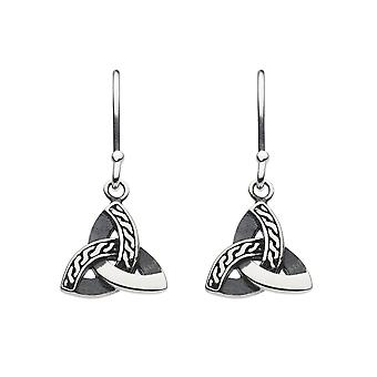 Heritage Sterling Silver Celtic Triangle Knot Drop Earrings 6289OX026